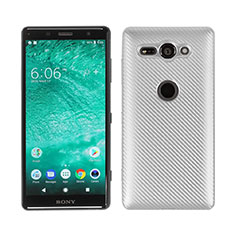 Coque Silicone Housse Etui Gel Serge S01 pour Sony Xperia XZ2 Compact Argent