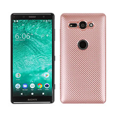 Coque Silicone Housse Etui Gel Serge S01 pour Sony Xperia XZ2 Compact Or Rose