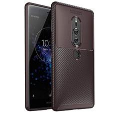 Coque Silicone Housse Etui Gel Serge S01 pour Sony Xperia XZ2 Premium Marron