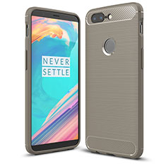Coque Silicone Housse Etui Gel Serge T01 pour OnePlus 5T A5010 Gris Fonce