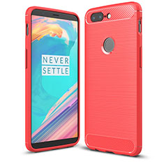 Coque Silicone Housse Etui Gel Serge T01 pour OnePlus 5T A5010 Rouge