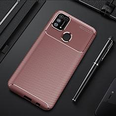 Coque Silicone Housse Etui Gel Serge T01 pour Samsung Galaxy M21s Marron