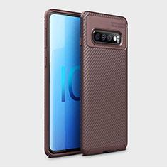 Coque Silicone Housse Etui Gel Serge Y01 pour Samsung Galaxy S10 Marron