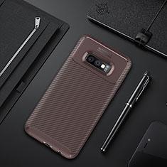 Coque Silicone Housse Etui Gel Serge Y01 pour Samsung Galaxy S10e Marron