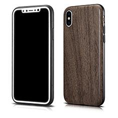 Coque Silicone Motif de Grain de Bois Souple Couleur Unie pour Apple iPhone Xs Max Gris