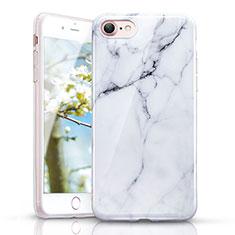Coque Silicone Motif de Marbre Souple Couleur Unie pour Apple iPhone 7 Blanc