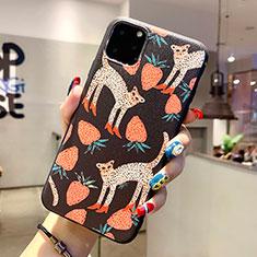 Coque Silicone Motif Fantaisie Souple Couleur Unie Etui Housse H06 pour Apple iPhone 11 Pro Max Noir