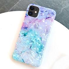 Coque Silicone Motif Fantaisie Souple Couleur Unie Etui Housse S01 pour Apple iPhone 11 Bleu