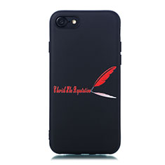 Coque Silicone Motif Fantaisie Souple Couleur Unie Etui Housse S01 pour Apple iPhone 7 Rouge
