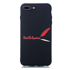 Coque Silicone Motif Fantaisie Souple Couleur Unie Etui Housse S01 pour Apple iPhone 8 Plus Rouge