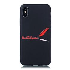 Coque Silicone Motif Fantaisie Souple Couleur Unie Etui Housse S01 pour Apple iPhone X Rouge
