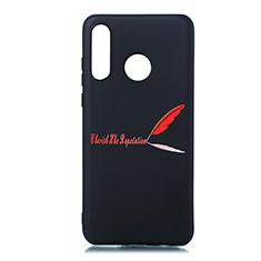 Coque Silicone Motif Fantaisie Souple Couleur Unie Etui Housse S01 pour Huawei P30 Lite Rouge