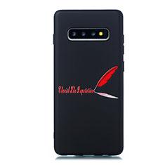 Coque Silicone Motif Fantaisie Souple Couleur Unie Etui Housse S01 pour Samsung Galaxy S10 Plus Rouge