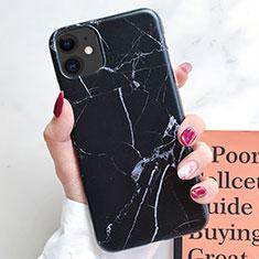 Coque Silicone Motif Fantaisie Souple Couleur Unie Etui Housse S10 pour Apple iPhone 11 Noir
