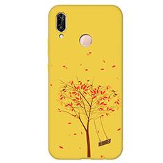Coque Silicone Motif Fantaisie Souple Couleur Unie Housse Etui S03 pour Huawei P20 Lite Jaune