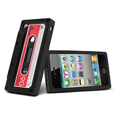 Coque Silicone Souple Cassette pour Apple iPhone 4 Noir