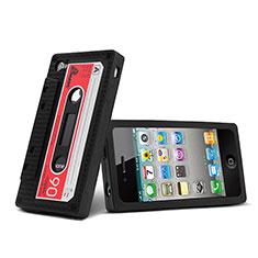 Coque Silicone Souple Cassette pour Apple iPhone 4S Noir