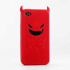 Coque Silicone Souple Demon Diable Masque pour Apple iPhone 4 Rouge
