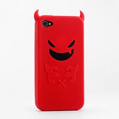 Coque Silicone Souple Demon Diable Masque pour Apple iPhone 4S Rouge