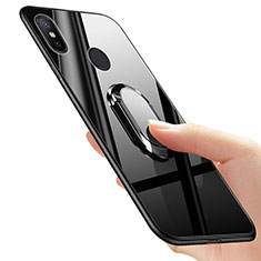 Coque Silicone Souple Miroir avec Support Bague Anneau pour Xiaomi Mi 6X Noir