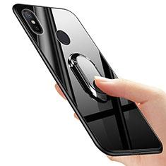 Coque Silicone Souple Miroir avec Support Bague Anneau pour Xiaomi Mi A2 Noir