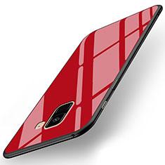 Coque Silicone Souple Miroir pour Samsung Galaxy A8+ A8 Plus (2018) Duos A730F Rouge