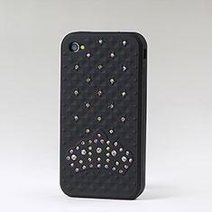Coque Silicone Souple Strass Diamant Bling pour Apple iPhone 4 Noir