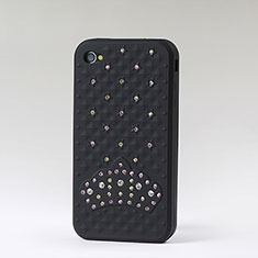 Coque Silicone Souple Strass Diamant Bling pour Apple iPhone 4S Noir