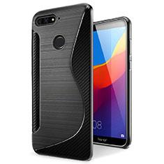 Coque Silicone Souple Transparente Vague S-Line Housse Etui pour Huawei Y6 (2018) Noir