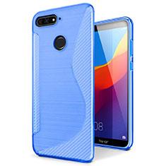 Coque Silicone Souple Transparente Vague S-Line Housse Etui pour Huawei Y6 Prime (2018) Bleu