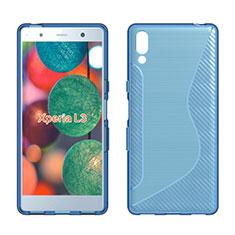 Coque Silicone Souple Transparente Vague S-Line Housse Etui pour Sony Xperia L3 Bleu