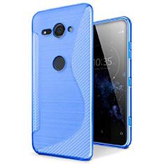Coque Silicone Souple Transparente Vague S-Line Housse Etui pour Sony Xperia XZ2 Compact Bleu