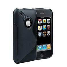 Coque Silicone Souple Transparente Vague S-Line pour Apple iPhone 3G 3GS Noir
