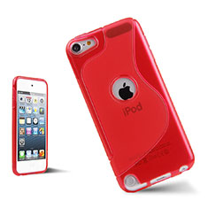 Coque Silicone Souple Transparente Vague S-Line pour Apple iPod Touch 5 Rouge
