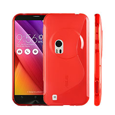 Coque Silicone Souple Transparente Vague S-Line pour Asus Zenfone Zoom ZX551ML Rouge