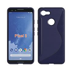 Coque Silicone Souple Transparente Vague S-Line pour Google Pixel 3 Bleu