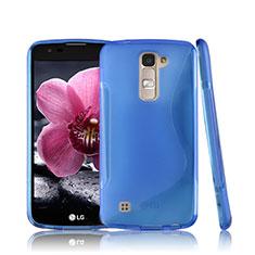 Coque Silicone Souple Transparente Vague S-Line pour LG K10 Bleu