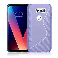 Coque Silicone Souple Transparente Vague S-Line pour LG V30 Violet