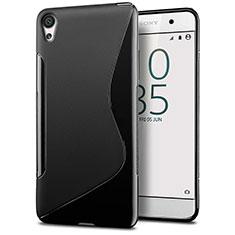 Coque Silicone Souple Transparente Vague S-Line pour Sony Xperia E5 Noir