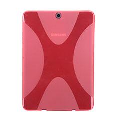 Coque Silicone Souple Transparente Vague X-Line pour Samsung Galaxy Tab S2 8.0 SM-T710 SM-T715 Rouge