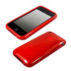 Coque Silicone Souple Vague Cercle Transparente pour Apple iPhone 3G 3GS Rouge