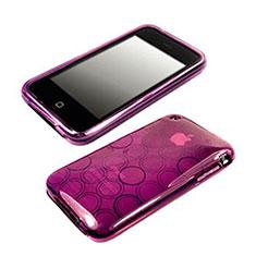 Coque Silicone Souple Vague Cercle Transparente pour Apple iPhone 3G 3GS Violet