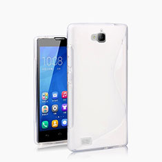 Coque Silicone Souple Vague S-Line pour Huawei Honor 3C Blanc