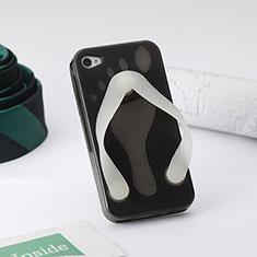 Coque Silicone TPU Transparente Tongs Flip Flops pour Apple iPhone 4S Gris