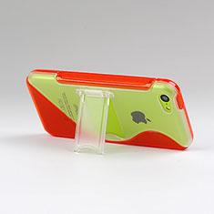 Coque Silicone Transparente Vague S-Line avec Bequille pour Apple iPhone 5C Rouge
