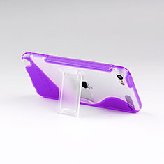 Coque Silicone Transparente Vague S-Line avec Bequille pour Apple iPod Touch 5 Violet