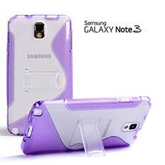 Coque Silicone Transparente Vague S-Line avec Bequille pour Samsung Galaxy Note 3 N9000 Violet