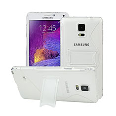 Coque Silicone Transparente Vague S-Line avec Bequille pour Samsung Galaxy Note 4 Duos N9100 Dual SIM Blanc