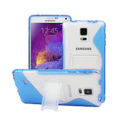 Coque Silicone Transparente Vague S-Line avec Bequille pour Samsung Galaxy Note 4 Duos N9100 Dual SIM Bleu