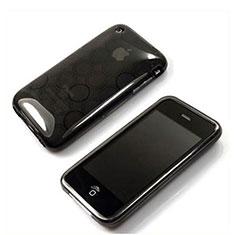 Coque TPU Souple Vague Cercle Transparente pour Apple iPhone 3G 3GS Gris